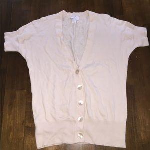 Ann Taylor loft cream short sleeve V cardigan sp
